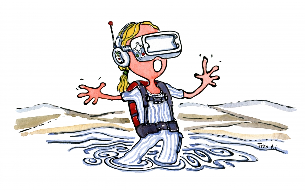Girl standing in water wearing a Virtual Reality Mask