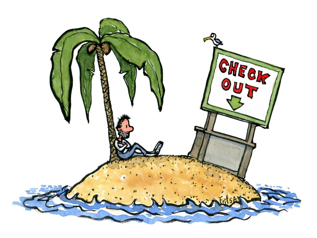 Man sitting on an island with a check out counter