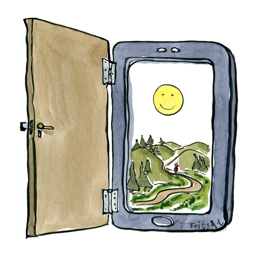 Door on smartphone leading into - out in nature.Drawing by Frits Ahlefeldt