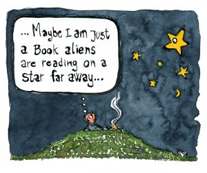 """Man under the stars by fire, wondering Maybe I am just a book aliens are reading on a star far away"""" Drawing by Frits Ahlefeldt"""